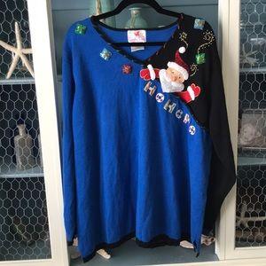 Quacker Factory Christmas Santa HO HO HO Sweater